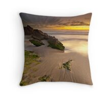 Two Rocks, Green Moss and a Sunset ! Throw Pillow