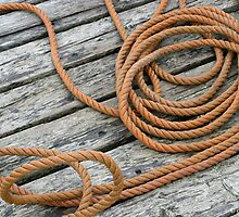 Belliveau Cove Dock, Coiled Rope by David Davies