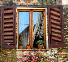 Tuscan Window in Browns by Nadine Rippelmeyer