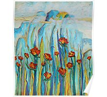 Poppies with Mountains Poster