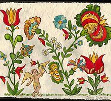 Pennsylvania Fraktur Art -Flower Garden by valleydeutsch