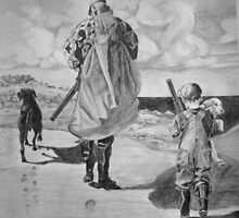 Man and Son with Lab and Puppy going home from hunt by Phyllis Dixon