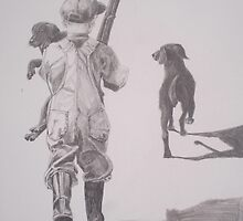 Boy with Lab and Puppy going home from hunt by Phyllis Dixon