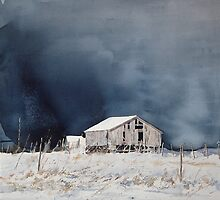 Barn in snow by sosivertsen