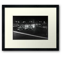 B&W Fountain and Light Framed Print