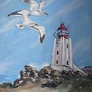 The Cape Columbine Lighthouse  (painted in acrylics) by Marie Theron