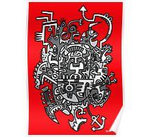 Grey Space Tiki In A Red Sky Poster