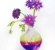 Purple Passion - Dahlias in a vase by kittierue