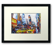 Times Square Yellow Taxi Cabs New York painting Framed Print