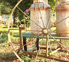 old garden wheel cart by shilohrachelle