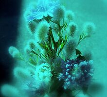 wildflower bouquet, aqua tint by Dawna Morton