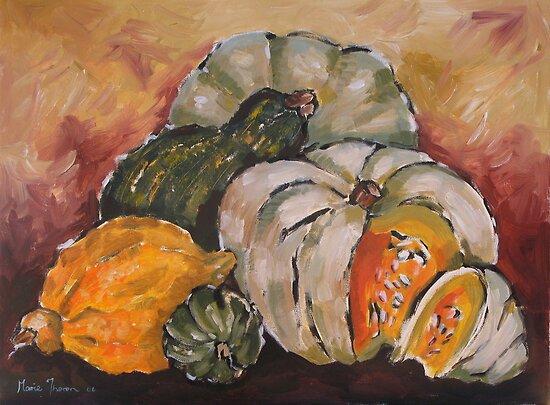 Pumpkin Still Life by Marie Theron