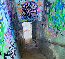 The door at the bottom of the stairs by donnnnnny