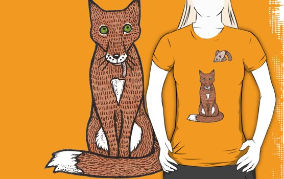 Fox and Bird Two Tee by Anita Inverarity