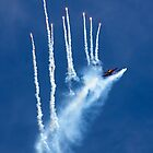 Dutch F-16 dispensing flares in loop by Colin Hollywood Photography