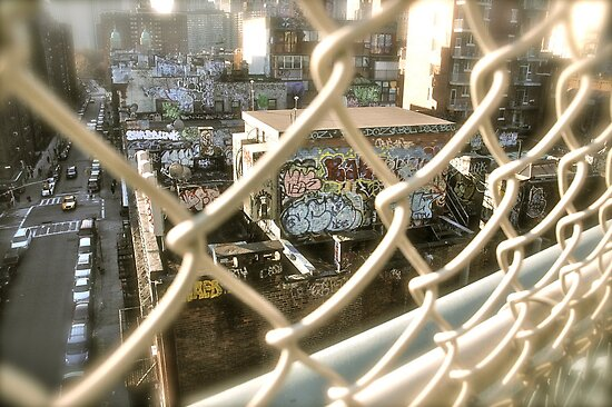 Downtown view from the Brooklyn Bridge by Heather-Jayne