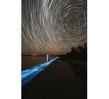 Bioluminescence with Star Trails Photographic Print