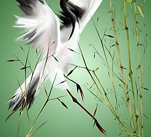 One Crane In Bamboo by Lotacats
