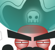 angry alien pirate Sticker