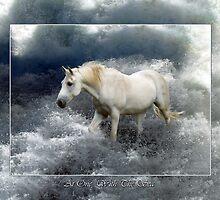 Fantasy White Horse & Ocean Surf Poster by Val  Brackenridge