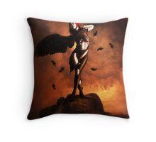Black wing unfurled Throw Pillow