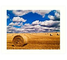Hay Bales with cloudy sky Art Print