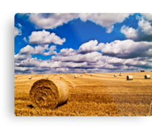 Hay Bales with cloudy sky Metal Print