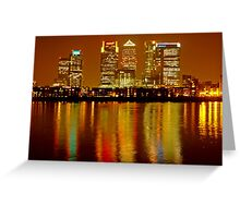 London Skyline Colors - Canary Wharf, north Greenwich Greeting Card