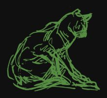 Fluorescent Cat Outline on Black / Dark T shirt  by thecatgallery