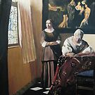 Lady Writing a Letter with Her Maid by Johannes Vermeer by Jsimone