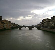 bridges of firenze under stormy sky by bearhat