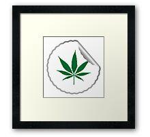 Cannabis leaf label Framed Print