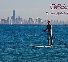 Paddle board welcome to the Gold Coast Card by Gavin Lardner
