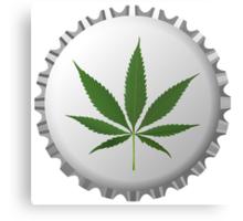 Cannabis leaf on bottle cap Canvas Print