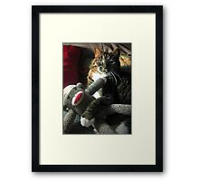 Just hanging with my sock monkey! Framed Print