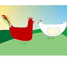 chicken and rooster Photographic Print