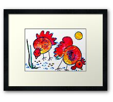 Chickens for children up to 80 years and older... Framed Print
