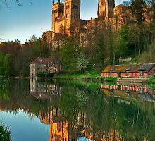 Durham Cathedral Sunset from below Prebends Bridge by Phil-Edwards