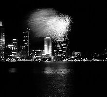 Fireworks on City Skyline by Paul Mayall