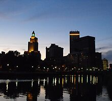 Providence Skyline at Night by iheartrhody