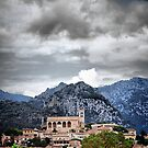 Stormy skies above Selva church, Mallorca. by Tigersoul