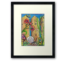 Garden Fence Whimsical drawing Framed Print