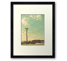 Telephone poles and the beautiful summer sky. Framed Print