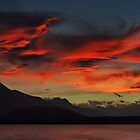 Sunset over Lake Manapouri by Peter Hammer