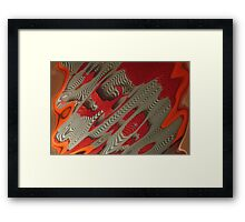 A Horse to Water, A grey and orange abstract raw image photograph Framed Print