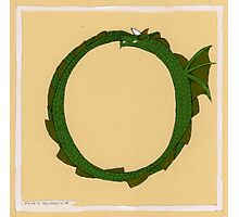 "Oscar and the Roses ""O"" Ouroborus"" (Illustrated Alphabet) Photographic Print"
