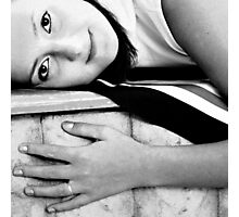 black and white portrait of a girl Photographic Print