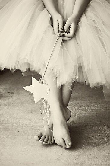 Ballerina Toes, Black & White- Little Girl in a Tutu by sunrisern