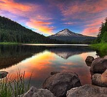 Sunset at Trillium Lake with Mount Hood by davidgnsx1