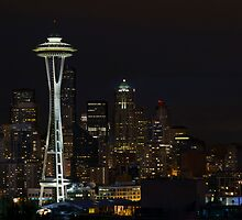 Seattle Skyline After Dark by davidgnsx1